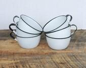 6 Vintage Enamelware Cups White with Black Trim