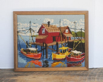 Vintage Boats Dock Nautical Theme Finished Framed Needlepoint Picture