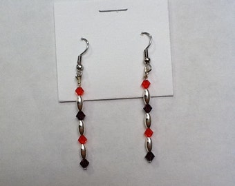 Silver Oval Bead Multi-colored Earrings