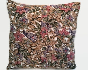 Flowered Shirt  Pillow Cover 18 Inch Square Upcycled 18 X 18