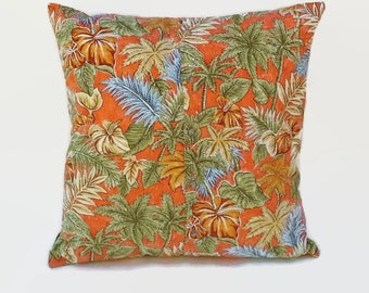 Palm Trees Hawaiian Shirt Accent Throw Pillow Cover 20 Inch Square Upcycled 20 X 20 Decorative Toss, Scatter Pillow