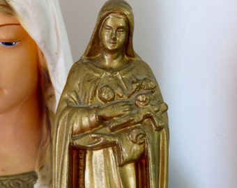"Early 1900's  ST. THERESE 6.3"" Gold Toned Metal Statue- Stunning- Perfect for your religious altar or loved one"