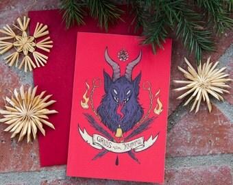 Gruß vom Krampus Christmas Greeting Card
