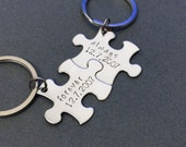 SALE 1st Year anniversary Gift, Always Forever Keychains, Date Puzzle Piece Keychains for Couples, Boyfriend Girlfriend Gift, Couples GIft