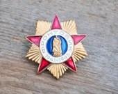 Vintage Russian brass-enamel badge.WW2 Veteran.