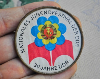 """Vintage brass badge,pin.""""Youth festival of DDR"""""""