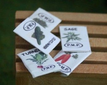 Dolls House Miniature Set Of 5 Seed Packets