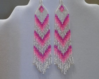 Native American Style Beaded Pink and White Earrings Shoulder Dusters Southwestern, Boho, Gypsy, Brick Stitch, Peyote, Great Gift