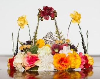 Flower Crown - Fall Wire Crown - Fairy Crown - Flowergirl hairpiece - Autumn Wedding - Wedding Crown - Floral Hairpiece