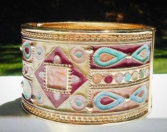 Enameled Cuff Bracelet Vintage Spring Loaded