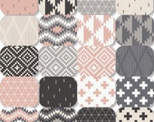 Pick Size Rag Quilt - Nordic - King Queen Full Twin xl Throw - Pink Gray Charcoal Cream White - Modern Handmade Bedding
