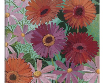 iCanvas Cosmos and Gerberas I Gallery Wrapped Canvas Art Print by Katherine Lovell