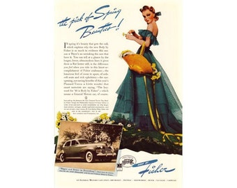 Belle in Blue Dress GM Body by Fisher - Vintage Advertising - Digital Download