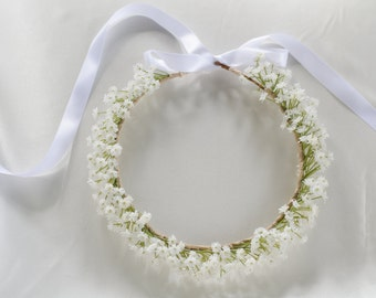Babys Breath Bridal Flower Crown - Rustic Boho Hair Wreath - Woodland Halo - Synthetic Flowers Safe for International Shipping
