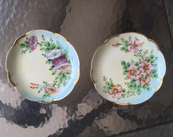 JHR Hutschenreuther Bavaria Charlotte Porcelain Plates (TWO) Bread or Dessert Selb handpainted