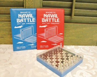 Vintage Pocket Travel Naval Battle Magnetic Game - Travel Chess Game