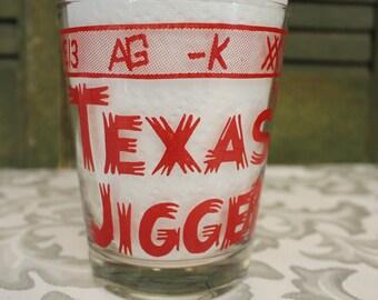 Large Shot Glass Vintage Texas Jigger Cowboy