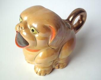 Vintage Lusterware Porcelain Dog Creamer Pitcher