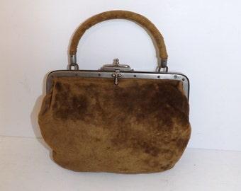 Antique Victorian brown velvet small gladstone doctors style handbag bag