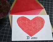 Valentine's Day Card - Red Heart - Te Amo - I Love You Flat Card in Spanish - Red Lined Envelope