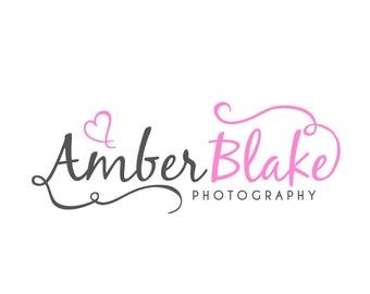 Photography Logo and Watermark - Script Heart & Swirls Logo Design
