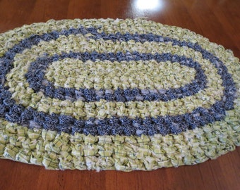 SALE!  Small Crocheted Rag Rug or Table Runner/Place Mat