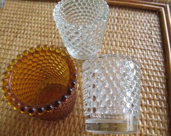 Vintage Hobnail votive candle holders (set of 3) / Amber glass hobnail votive / hobnail glass