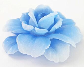 1 Vintage 55mm Light Blue Rose Glue-On Cabochons Cb107