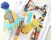 First Birthday Boys Bright Animal Giraffe Theme Onesie and Party Hat