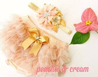 Peach, Cream and Gold Chiffon Ruffle Bloomers and Matching Headband Baby gift 1st birthday
