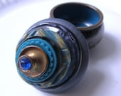 Vintage Button Ring Box:  Various Blue Buttons & Black and Blue Footed Enameled Salt Cellar with Gold Swirls Jewelry Box