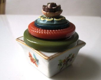 Vintage Button Ring Box and Proposal Box:  Multicolor Vintage Button and Floral White and Gold Porcelain Salt Cellar Jewelry Box