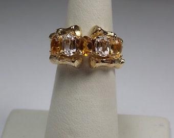 1970s Gold Bamboo Ring Citrine and White Topaz Gemstones 2.35Ctw YG 9K 7gm Size 5.25