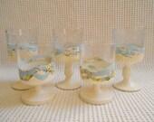 Votive Glasses Candle Set Shimmering Sealife White Map