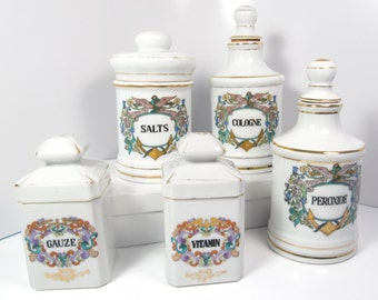Vintage Small Porcelain Floral & Gold Trim Medical Apothecary Jar Cork Stopper or Lidded 5 Choices Sold Separately