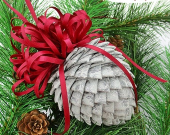 Fabric Pinecone Ornament - Silver Brocade with Burgundy Satin Bow - Christmas Ornament