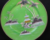 Vintage 1920s Green Gold Raised Moriage Hand Painted Snack Plate Japan Japanese Island Scene