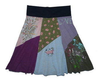 Upcycled Skirt Women's Small Medium 4 6 Hippie Skirt Boho Skirt Cotton Skirt Midi Skirt recycled t-shirt clothing Twinkle Skirts Twinklewear