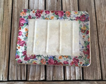 Antique English Chintz  BCM Nelson Ware Soap Dish