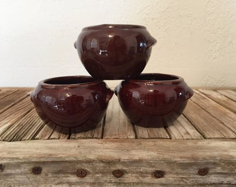 Vintage Set of Brown Bean Pots Made in USA