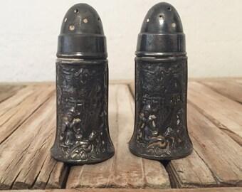 Antique Art Nouveau Repousse Derby Silver Plate Co.  Salt and Pepper Shakers