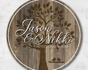 Personalized Wedding Gift, Wooden Family Name Sign, Personalized Family Established Sign, Wood Last Name Sign With Wedding Date