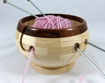 Compact Wooden Knitting and Yarn Bowl, Hard Maple Body with Rosewood Rim, Lathe Turned