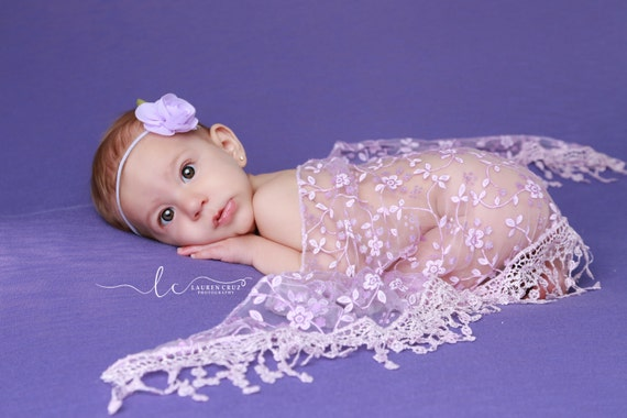Lavender Fringe Swaddle Wrap with a Lavender Rose Headband for newborn photo shoots, baby headband,  lace wrap by Lil Miss Sweet Pea