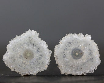 24mm Solar Quartz Flower Stalactite Slice Pair Polished Crystal Earring Set Healing Protective Stone Open Intuition Jewelry Designs (CA5890)