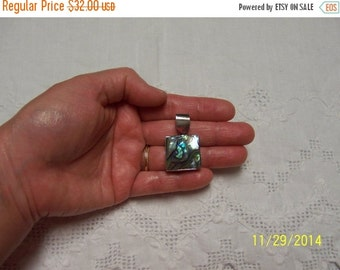 20 OFF EVERYTHING Vintage Abalone Square pendant. Sterling Sivler.