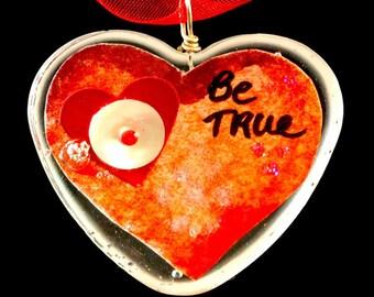 "Heart Shaped Epoxy Resin Pendant - ""Be True"""