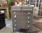 Tall Gray Vintage Dresser with White Knobs