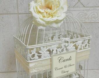 Large Ivory Pearl Wedding Birdcage Card Holder / Wedding Card Box / Lace and Pearls / Wedding Decor / Vintage Wedding Decor