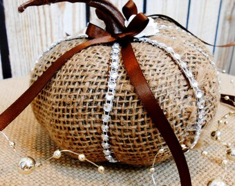 READY TO SHIP / Burlap and Bling Fall Wedding Pumpkin Ring Bearer Pillow / Ring Bearer Pillow / Fall Wedding / Wedding Pumpkin